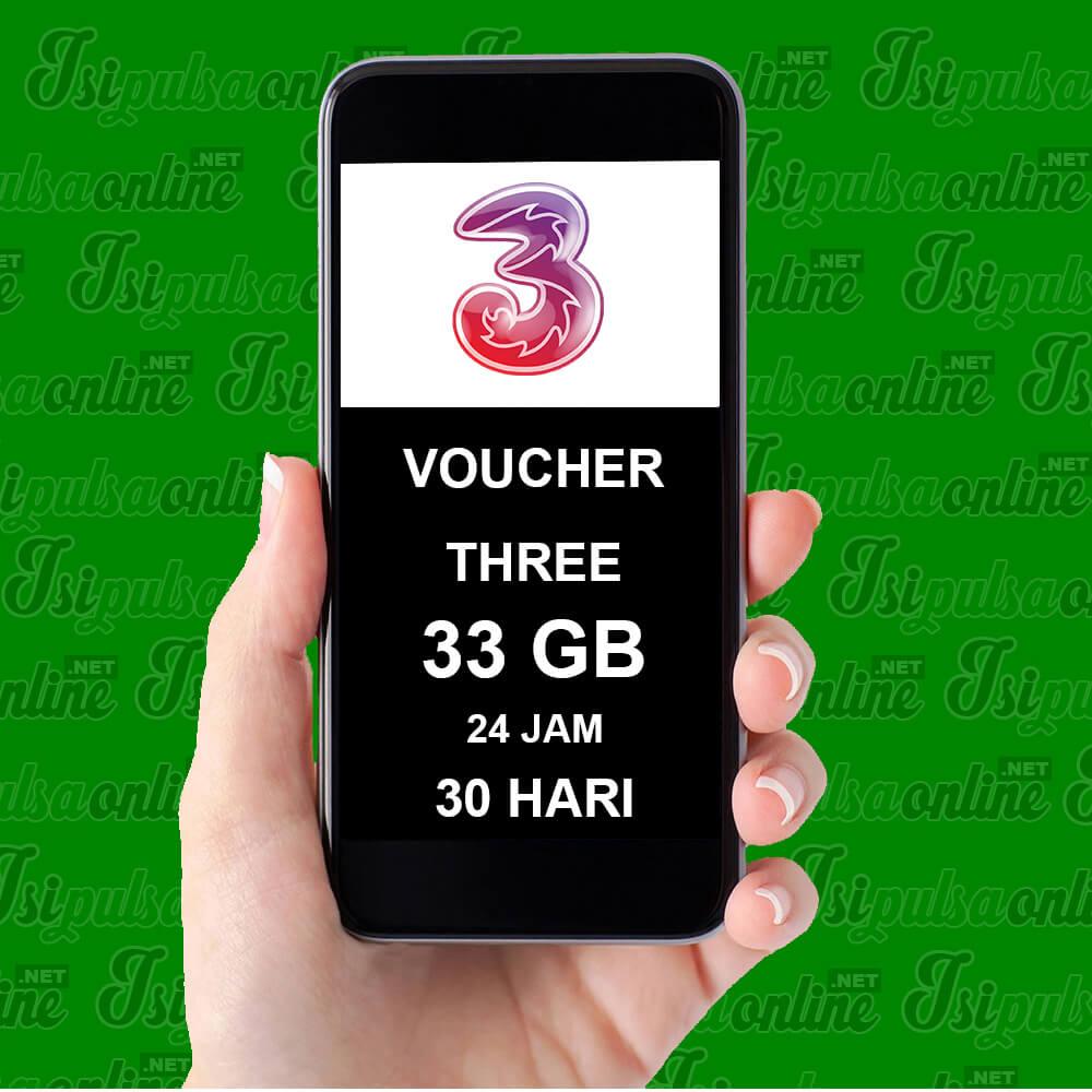 Voucher Fisik Voucher Three - VOUCHER THREE 33GB 30HR